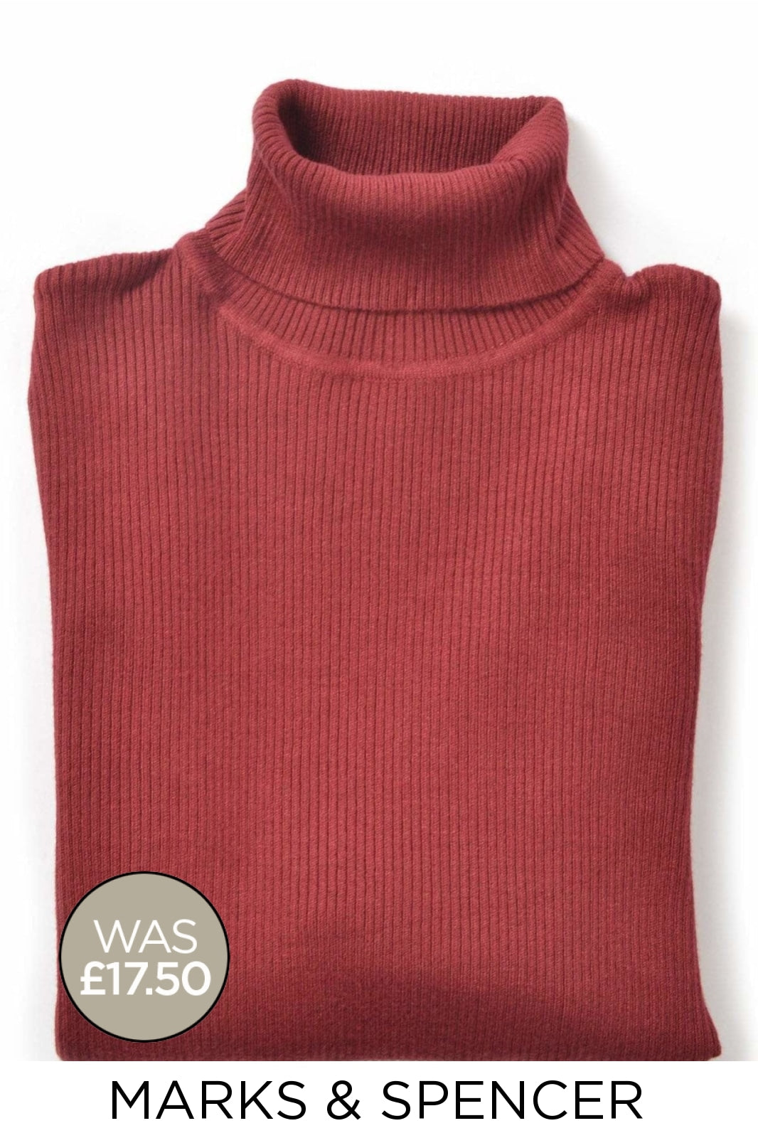 Marks & Spencer Ex M&S Ribbed Roll Neck Jumper | 6 / Burgundy Secret Label