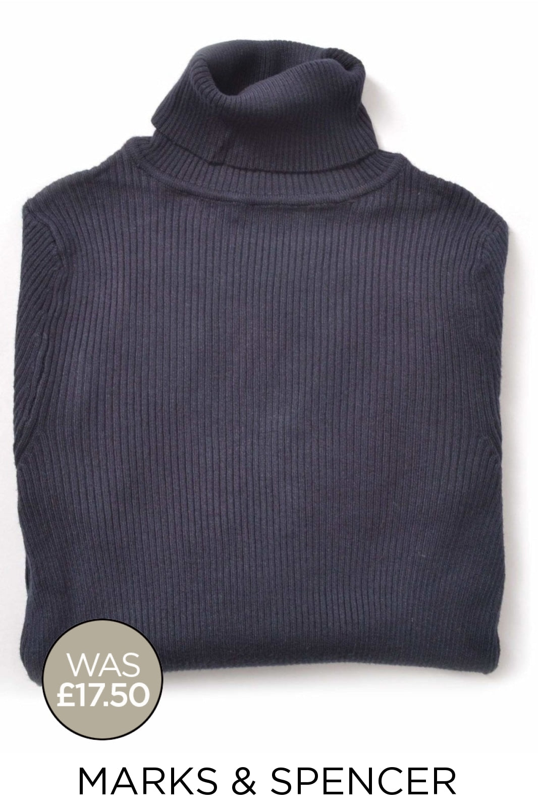 Marks & Spencer Ex M&S Ribbed Roll Neck Jumper | 24 / Navy Secret Label