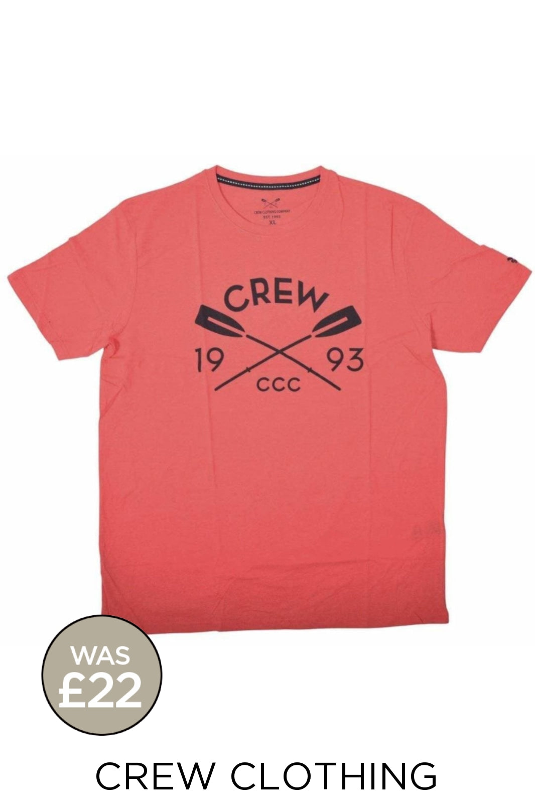 Crew Clothing Crew Clothing Mens Crew Logo T-Shirts | XL / Dusty Red (Oars) Secret Label