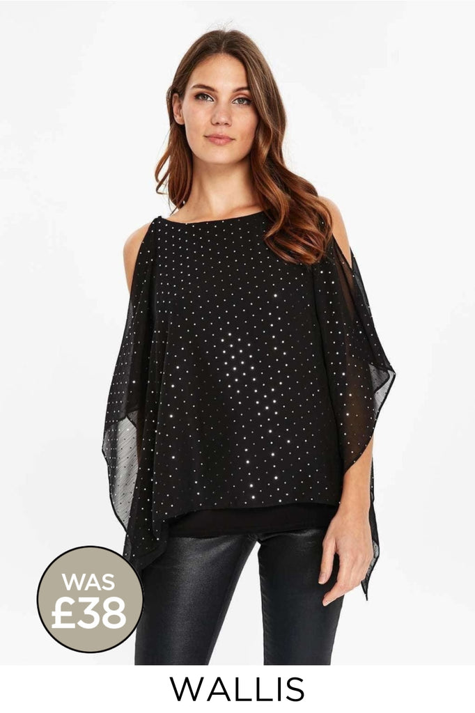 Black Silver Stud Swing Party Top