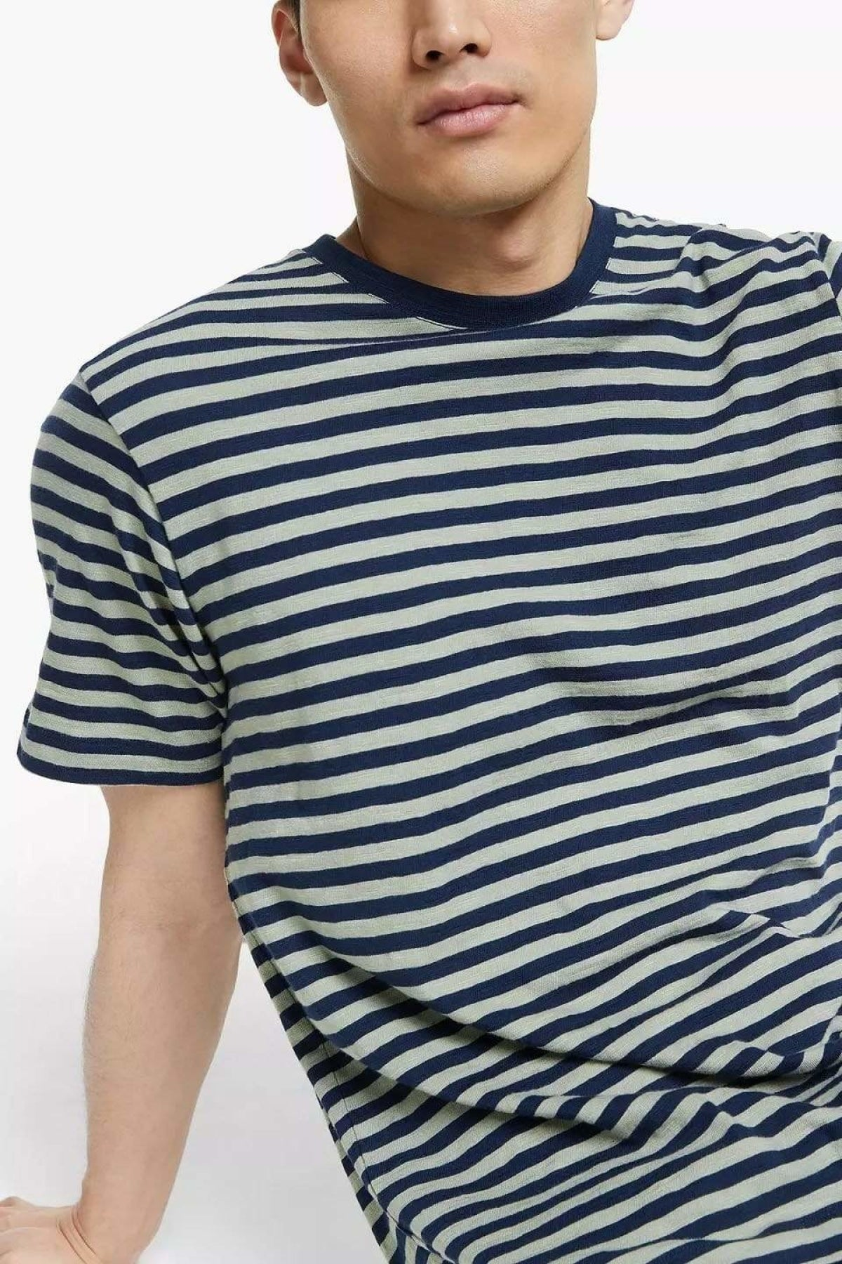 John Lewis Mens Striped T-Shirt | Navy/Grey / S Secret Label