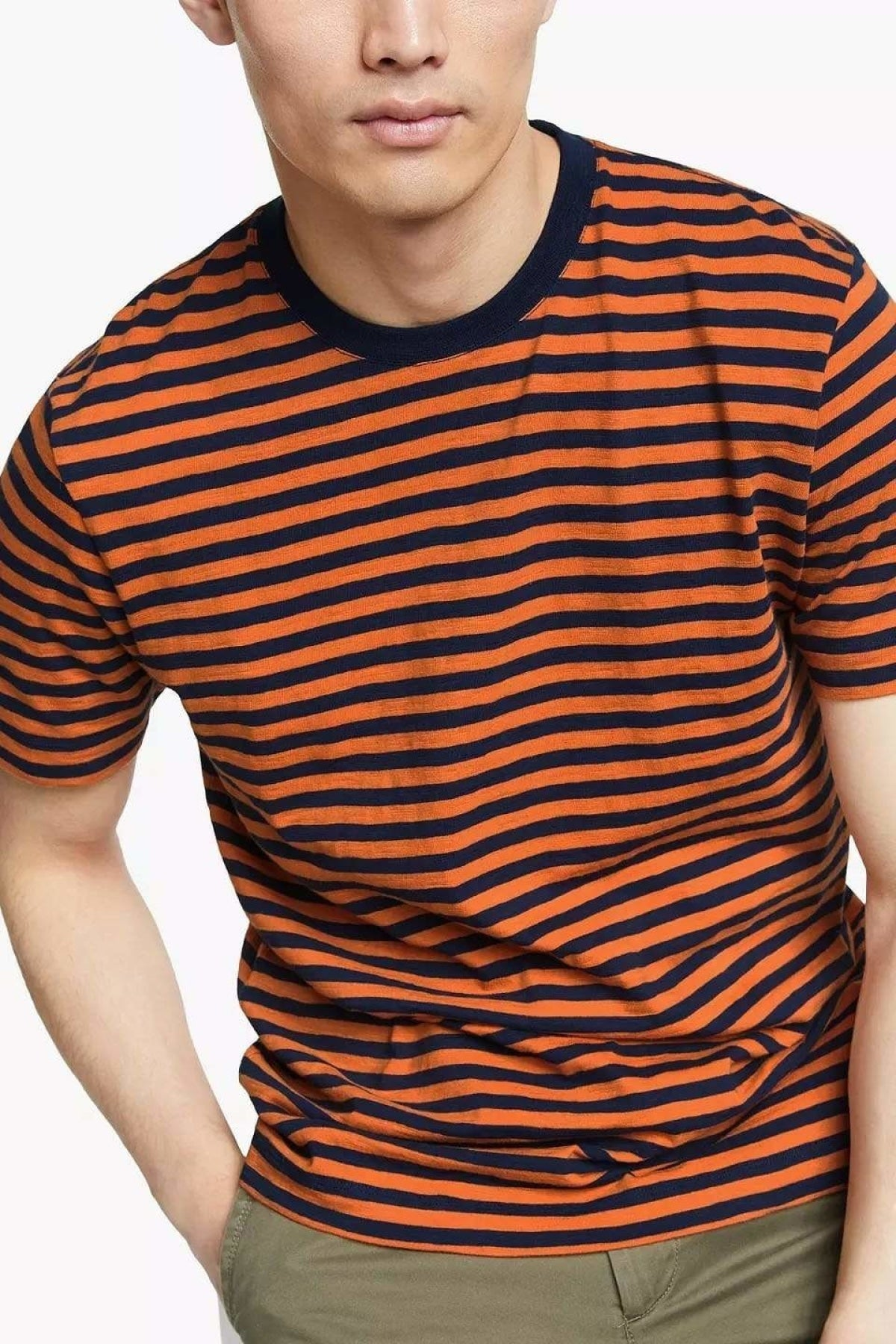 John Lewis Mens Striped T-Shirt | Rust/Navy / S Secret Label