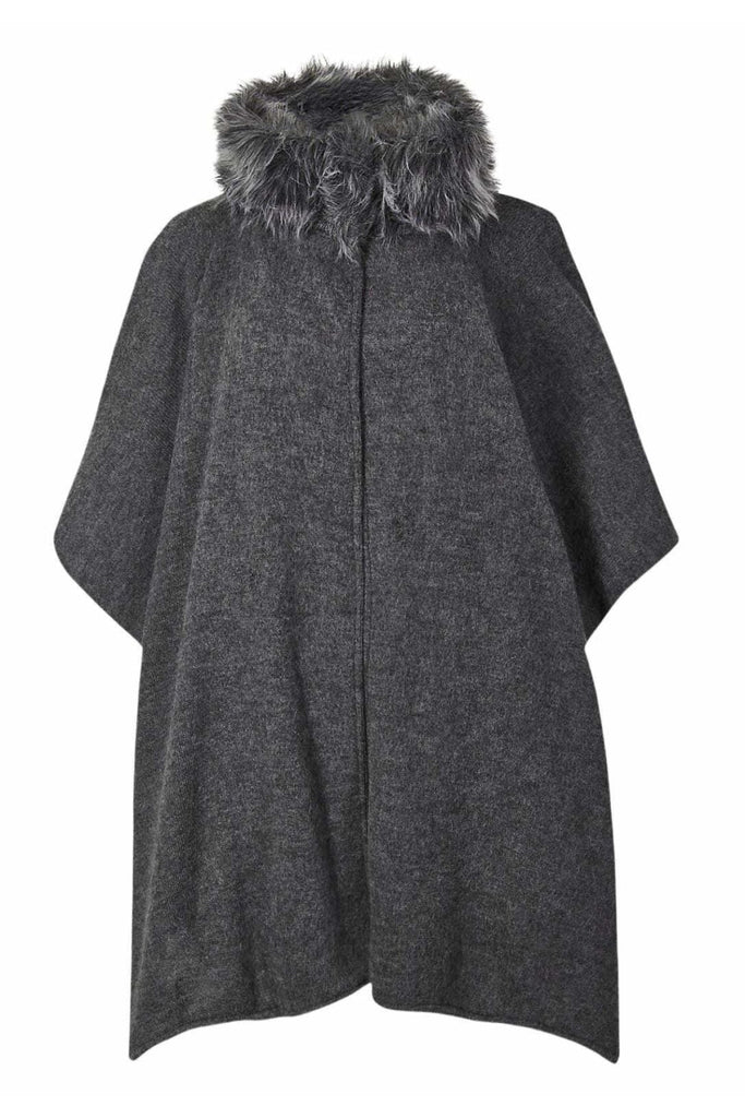 Fur Collar Cape Poncho