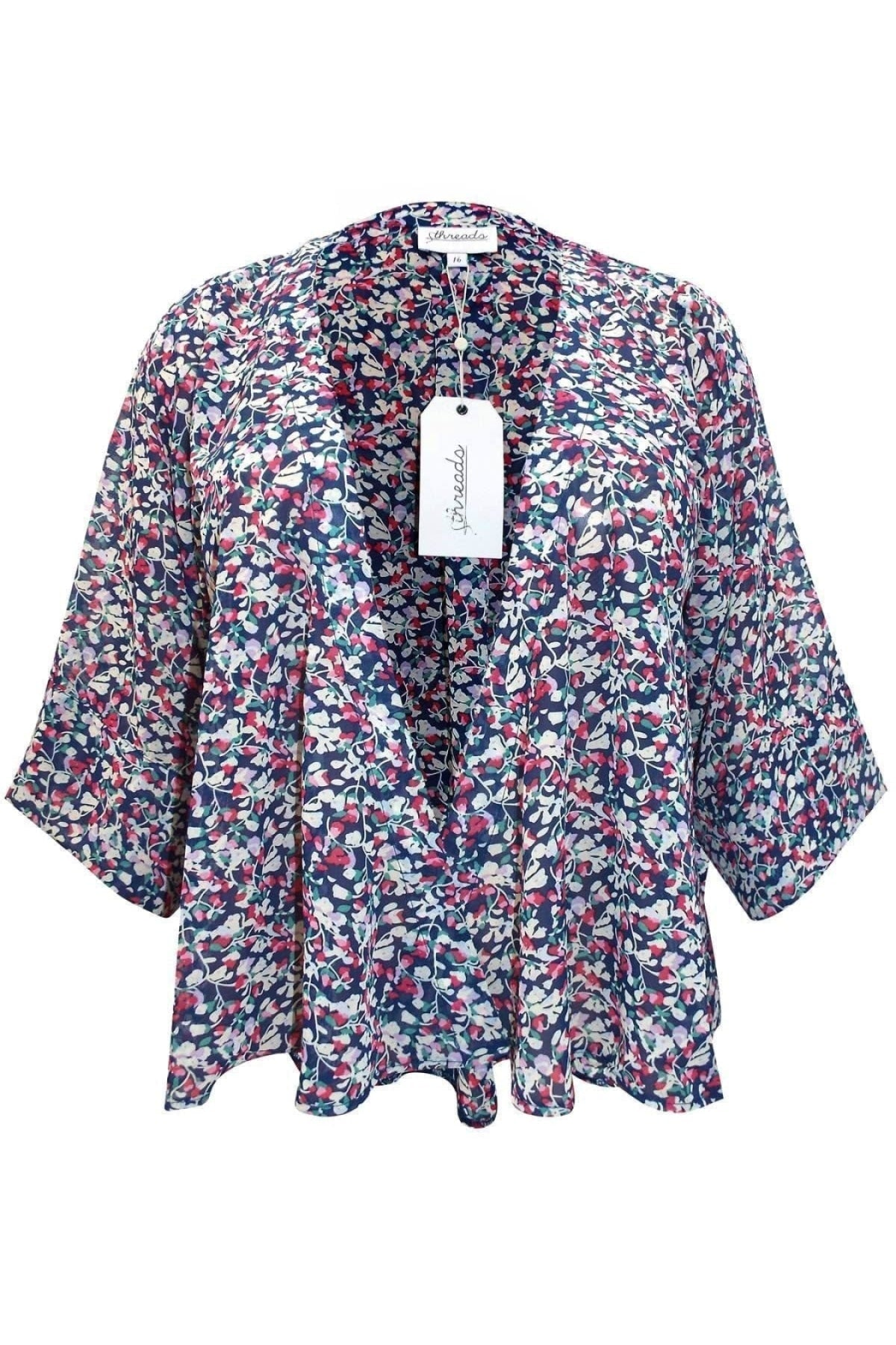Threads Threads Pink Blue Floral Chiffon Kimono | Secret Label