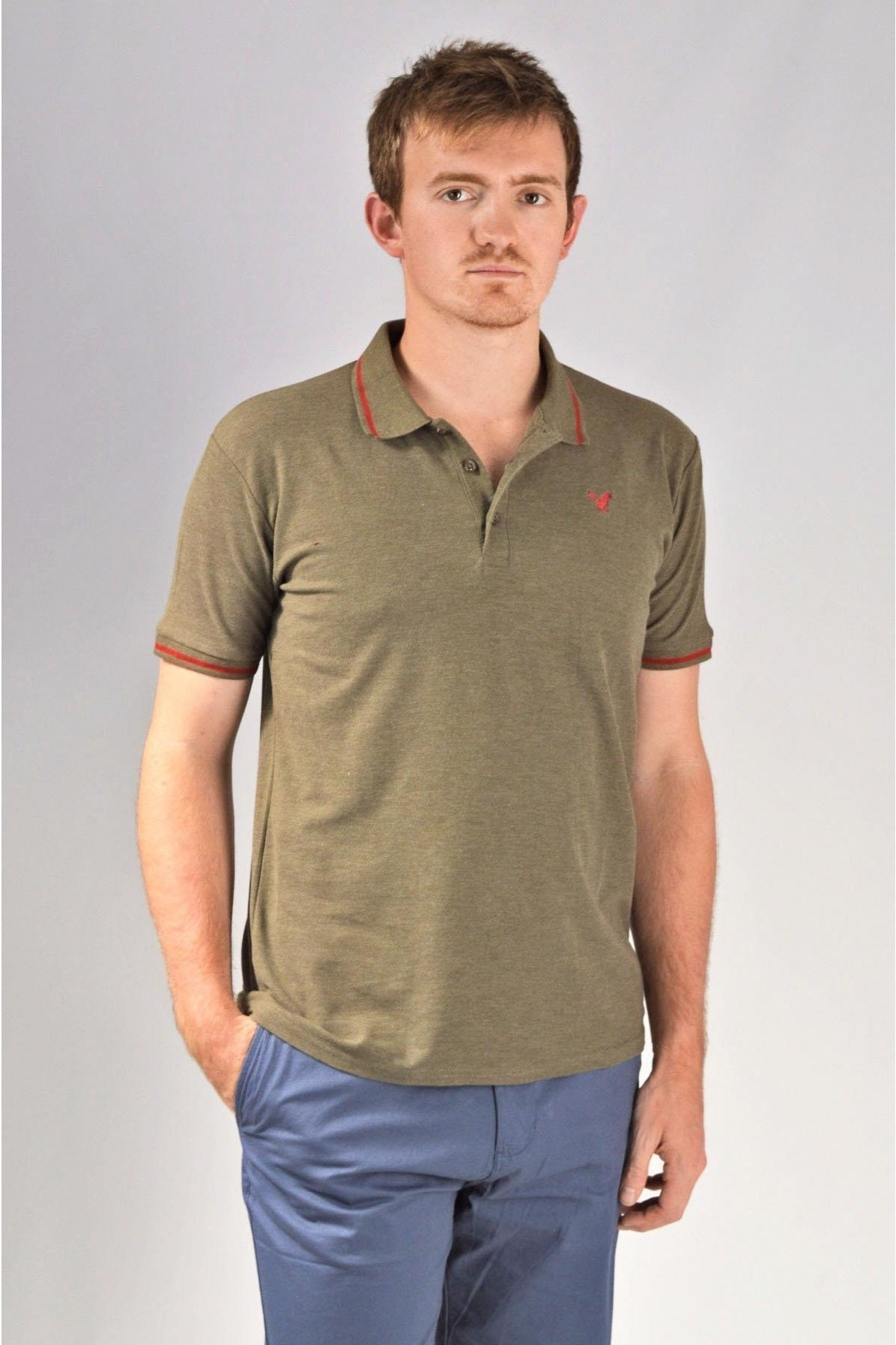 American Eagle Mens Tipped Collar Polo Shirt | XL / Khaki Secret Label