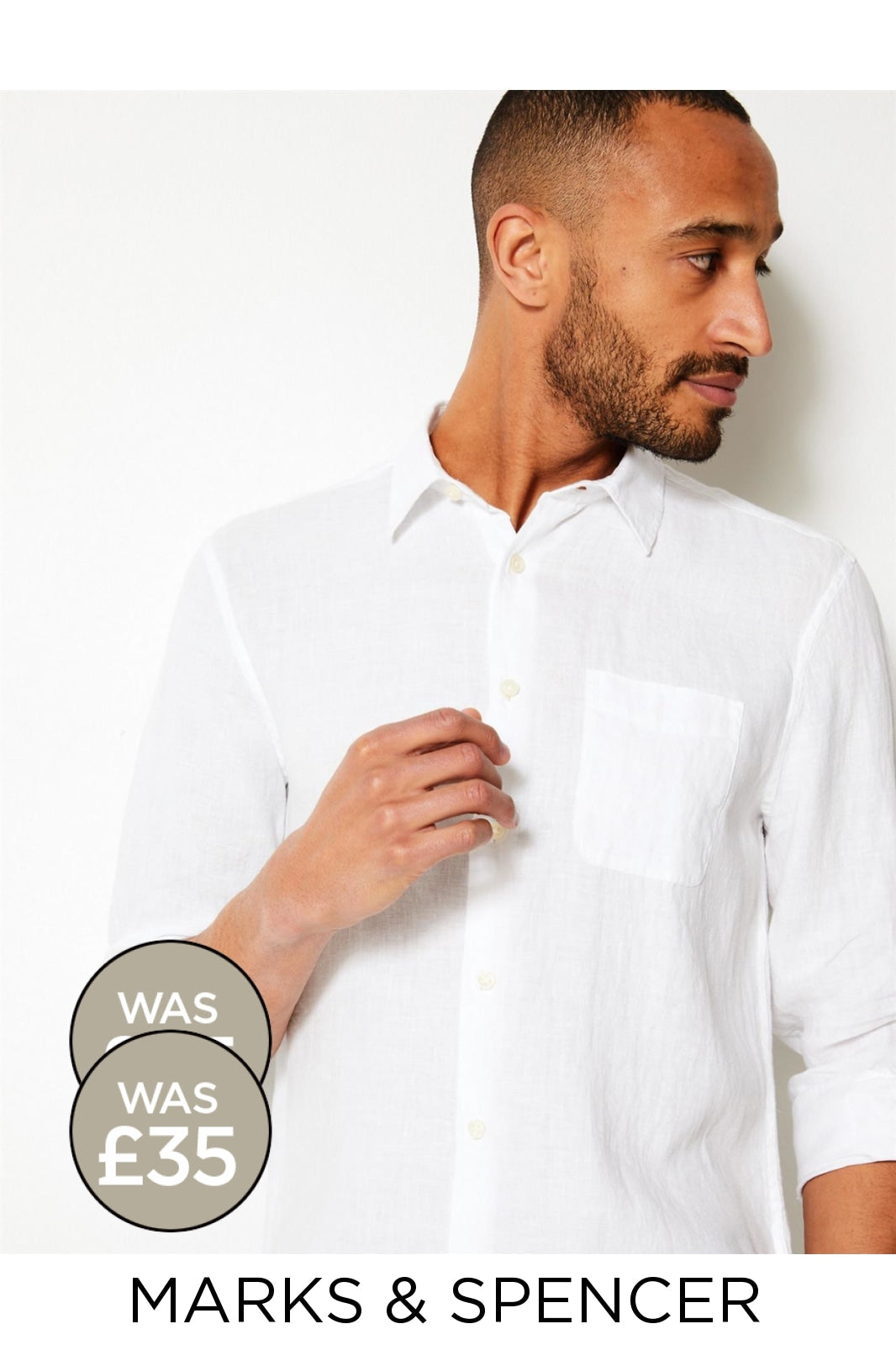 Marks & Spencer Ex M&S Relaxed Linen Shirt with Pocket | 4XL / White Secret Label