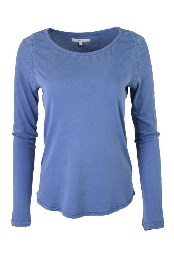 Blue Cotton Round Neck Lace Trim Top