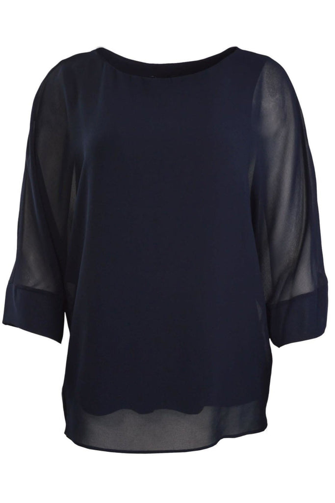 Navy Overlay Tunic Blouse