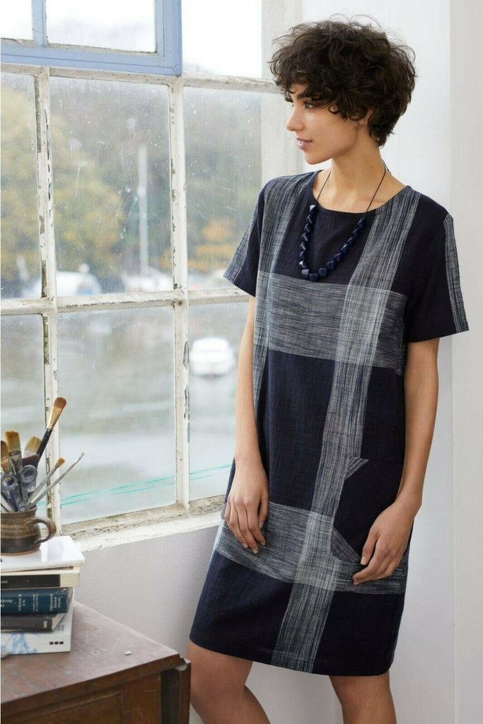 Short Sleeve Check Tunic Dress