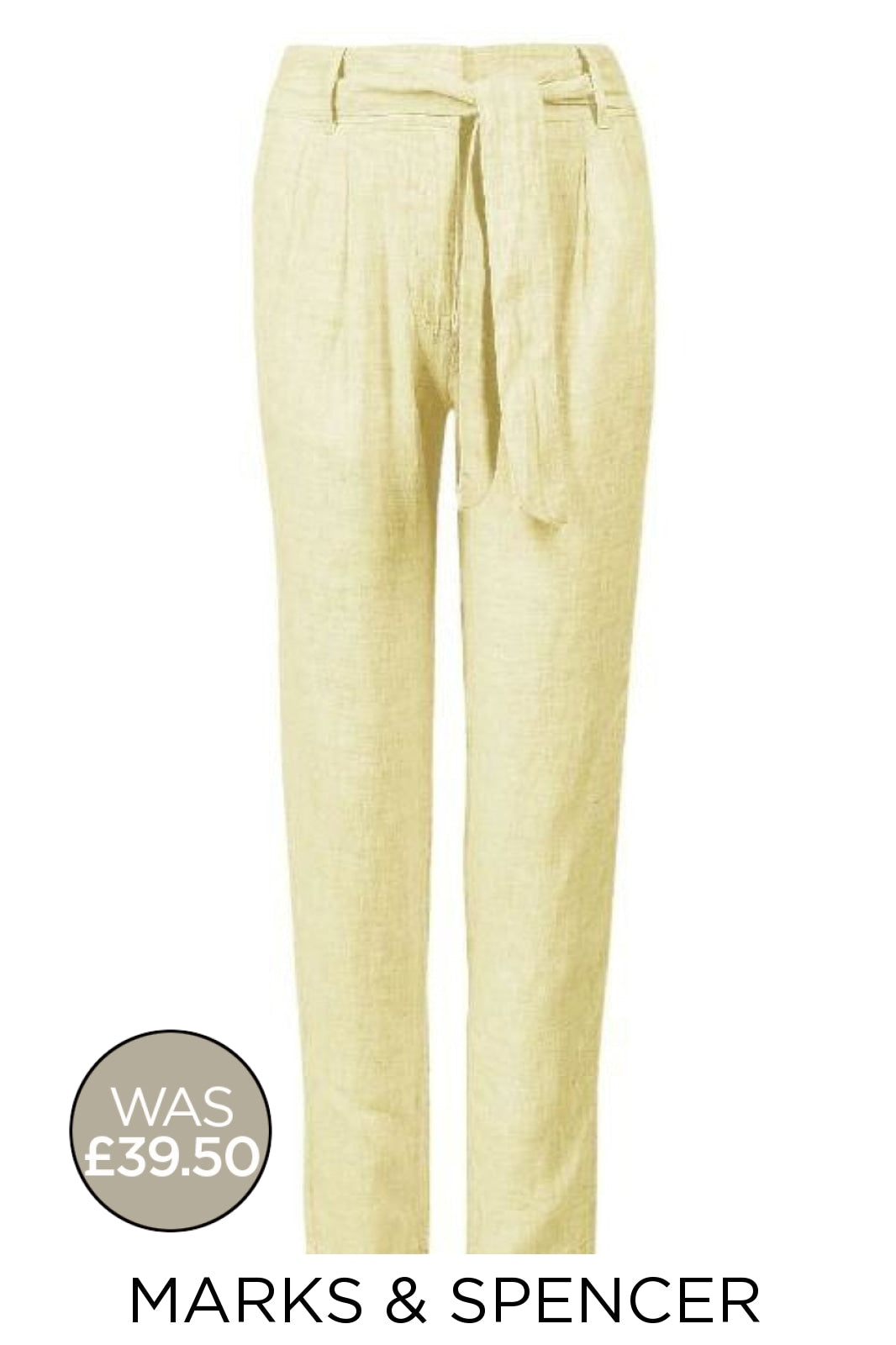 Marks & Spencer Tie Waist Dobby Linen Trousers | 18 / Yellow / Long Secret Label
