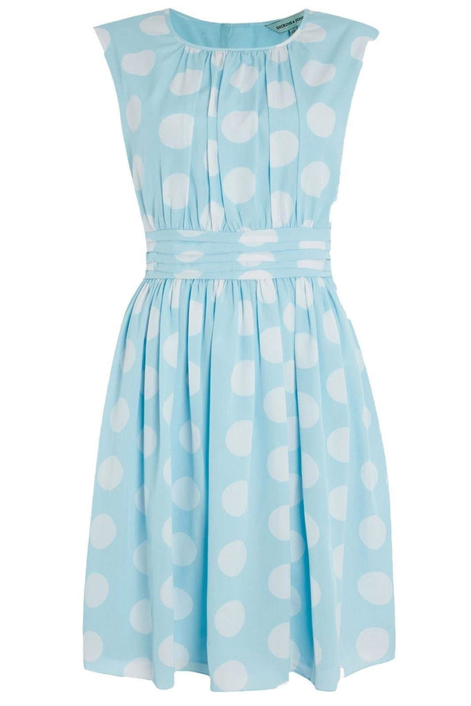 Pale Blue Polka Dot Fifties Dress
