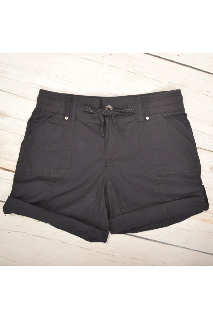 Ribbed Waistband Cotton Utility Shorts