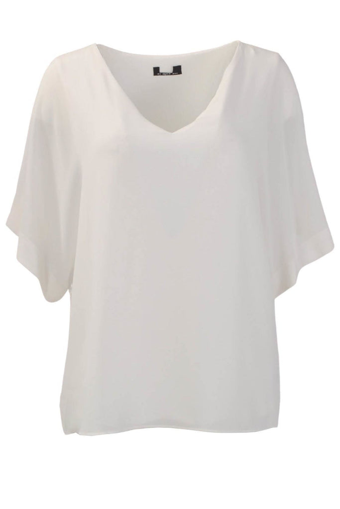 Ivory Short Sleeve V Neck Blouse