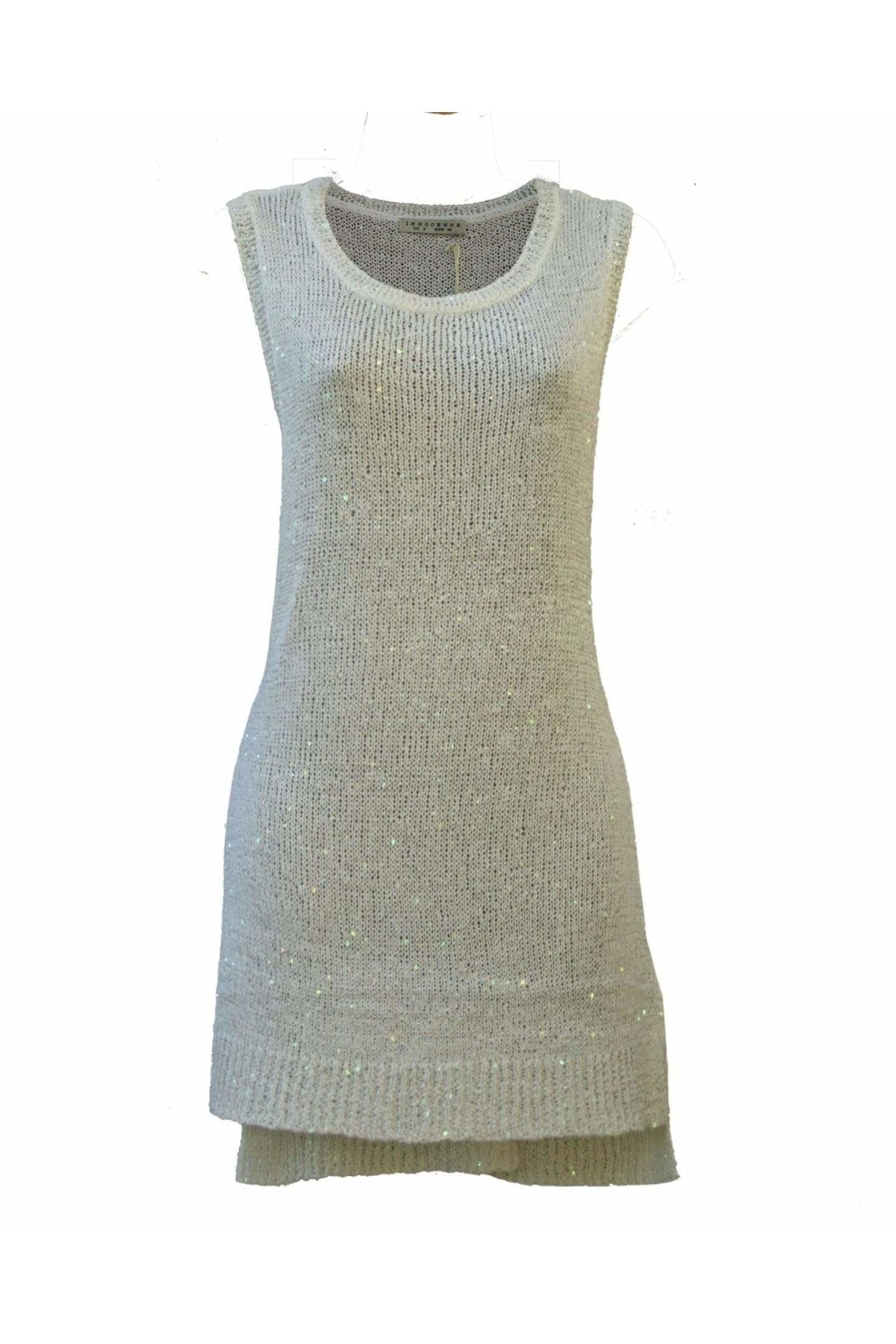 Innocence Innocence Sparkle Sequin Knit Sleeveless Long Top | 12 / White Secret Label
