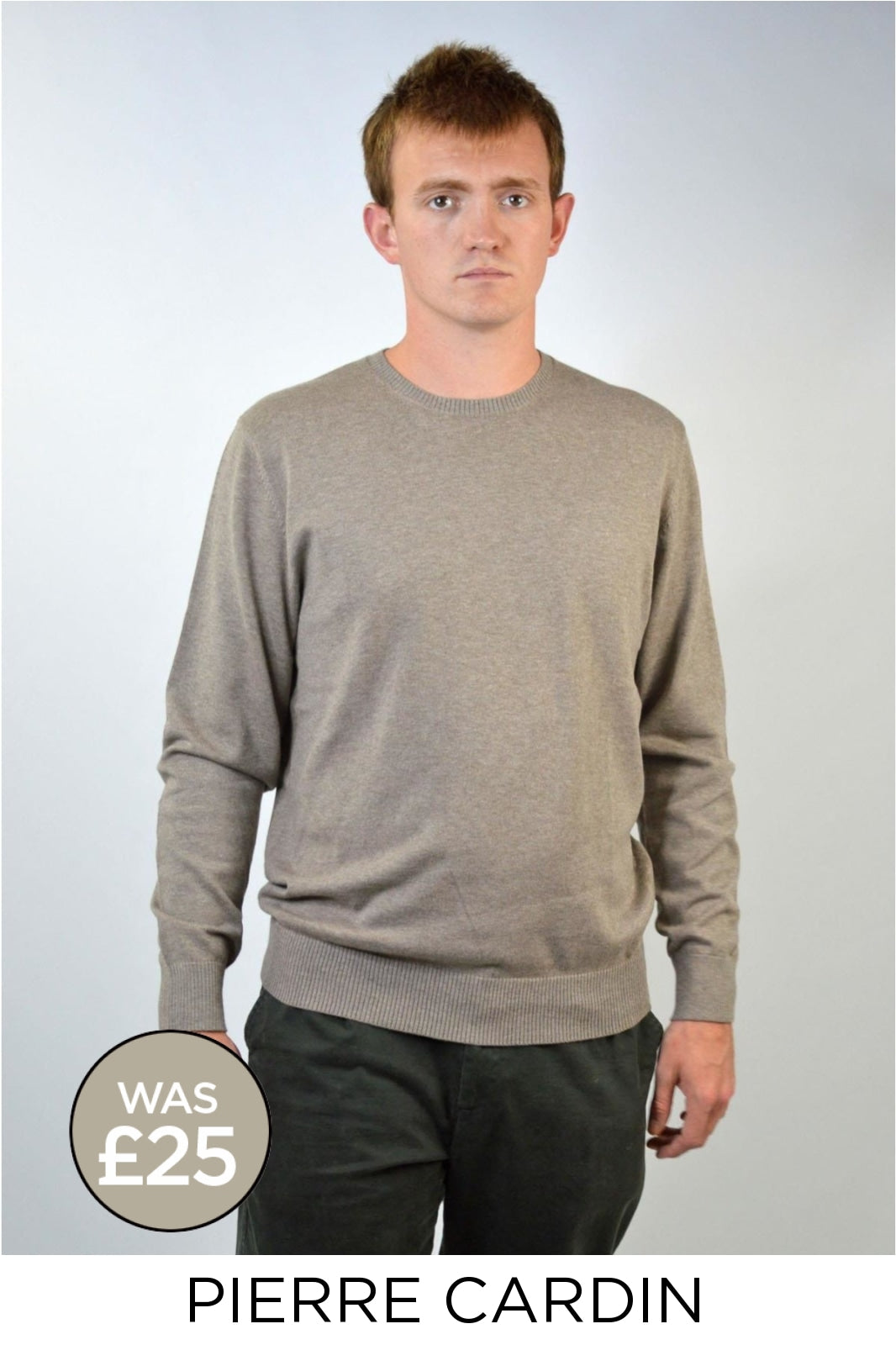 Pierre Cardin Cotton Round Neck Jumper | XL / Beige Secret Label