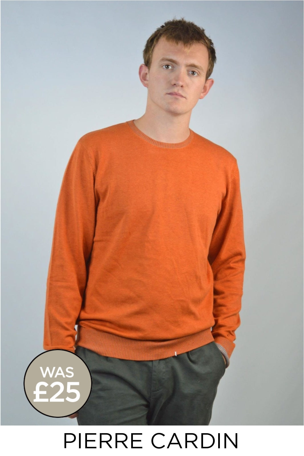 Pierre Cardin Cotton Round Neck Jumper | 4XL / Rust Secret Label