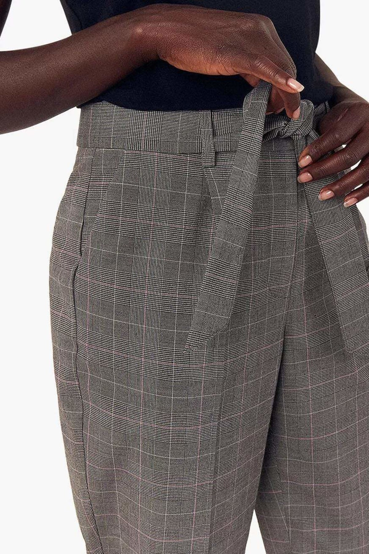 Oasis Ex Oasis Grey Check Capri Peg Trousers | Secret Label