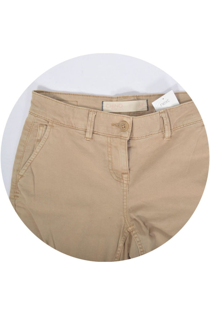 Beige Cropped Slim Leg Chinos
