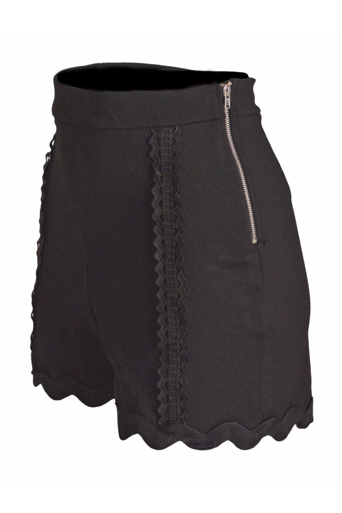 Topshop Ex Topshop Black Ponte Lace Trim Shorts | Secret Label