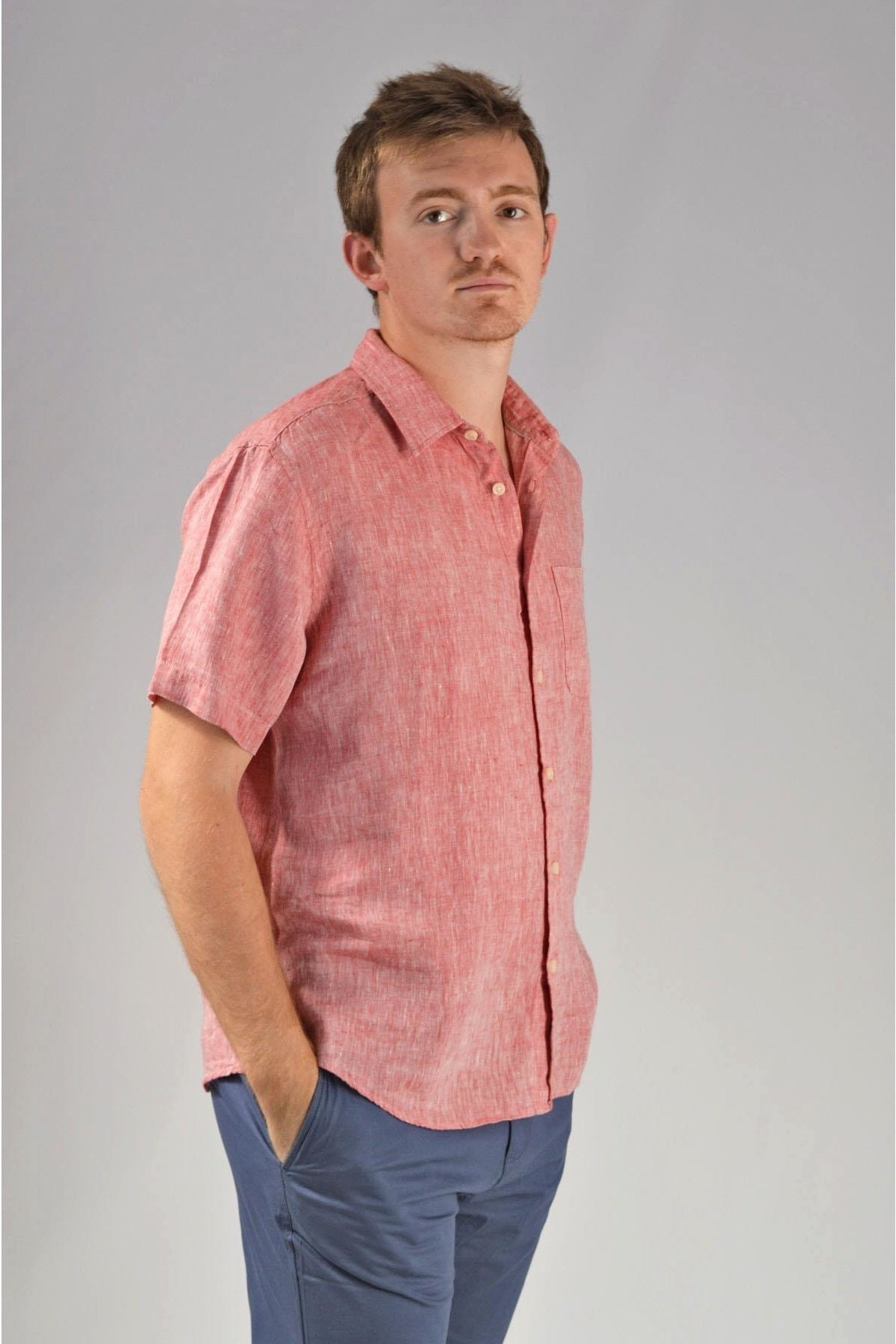 Marks & Spencer Mens Short Sleeve Linen Shirt | XL / Red Secret Label