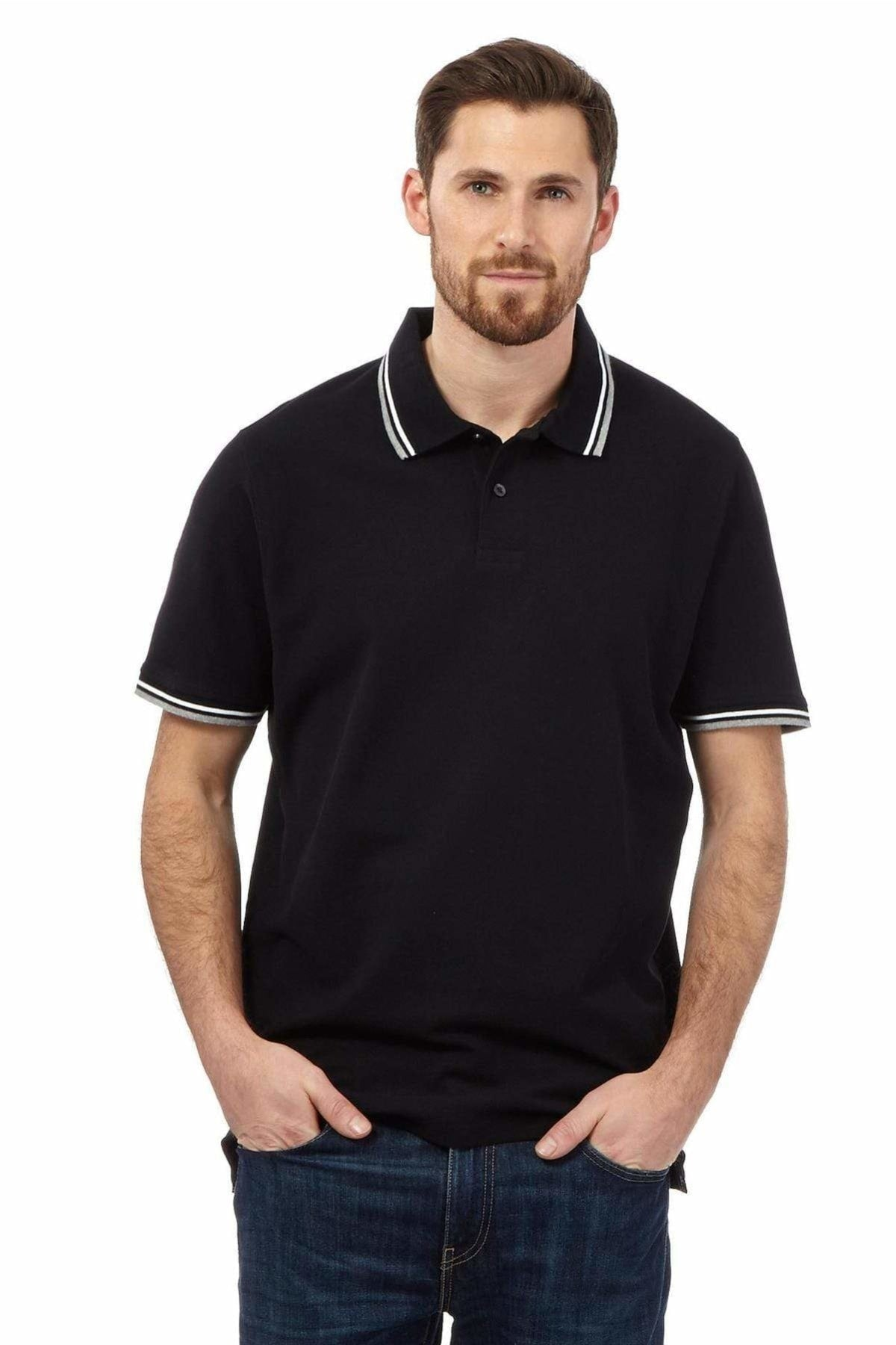 MAINE New England MAINE New England Mens Polo Shirt Tipped Collar | S / Black Secret Label