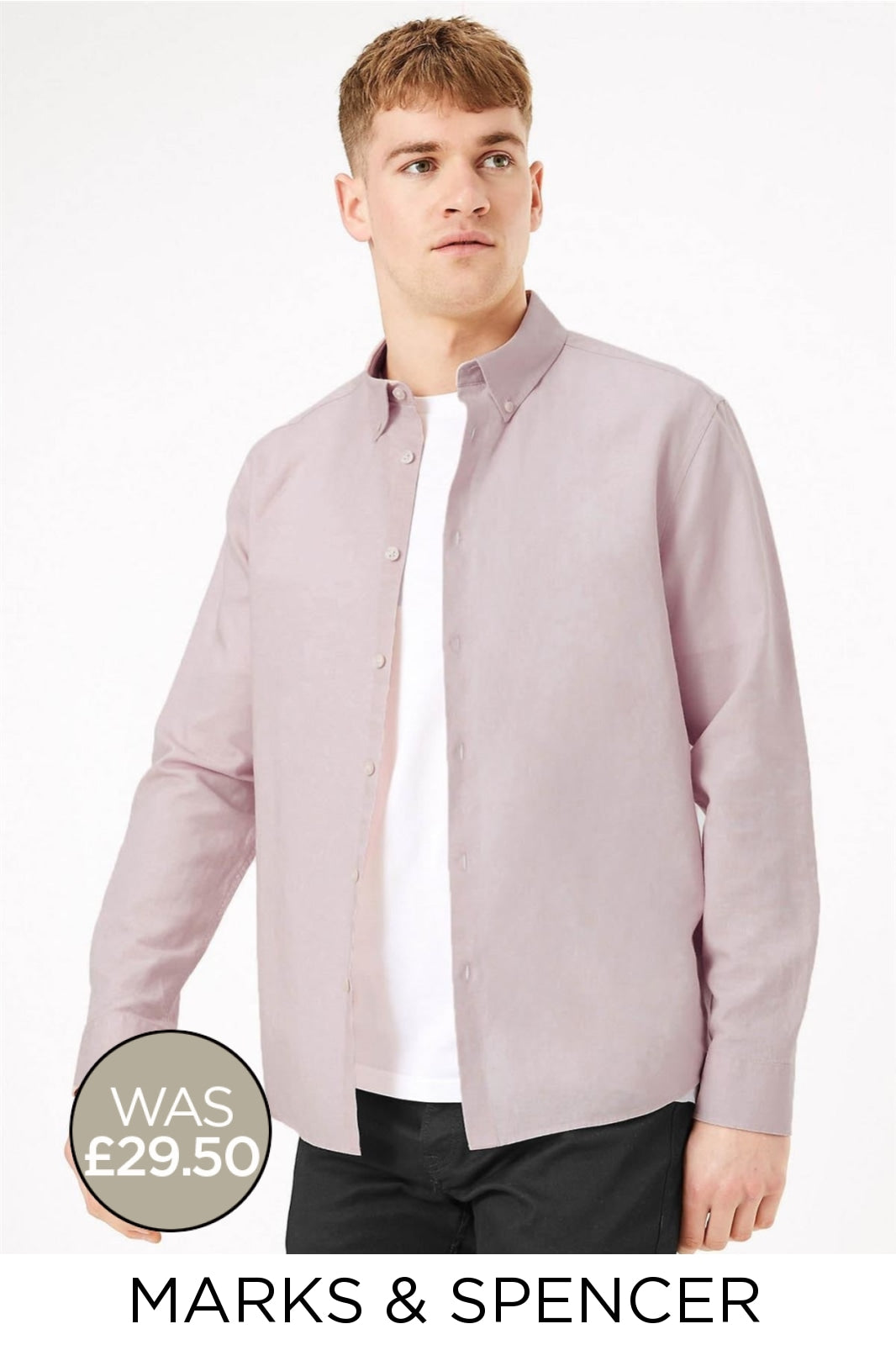 Marks & Spencer Linen Shirt Button Down Collar | XL / Dusty Pink Secret Label