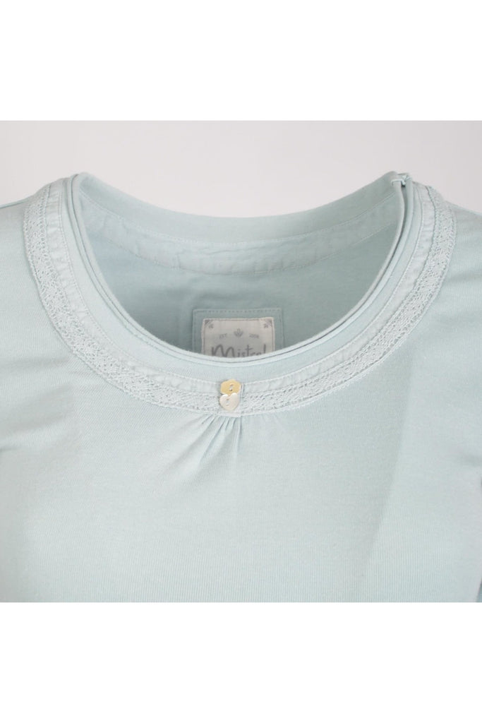 Duck Egg Lace Scoop Neck Top