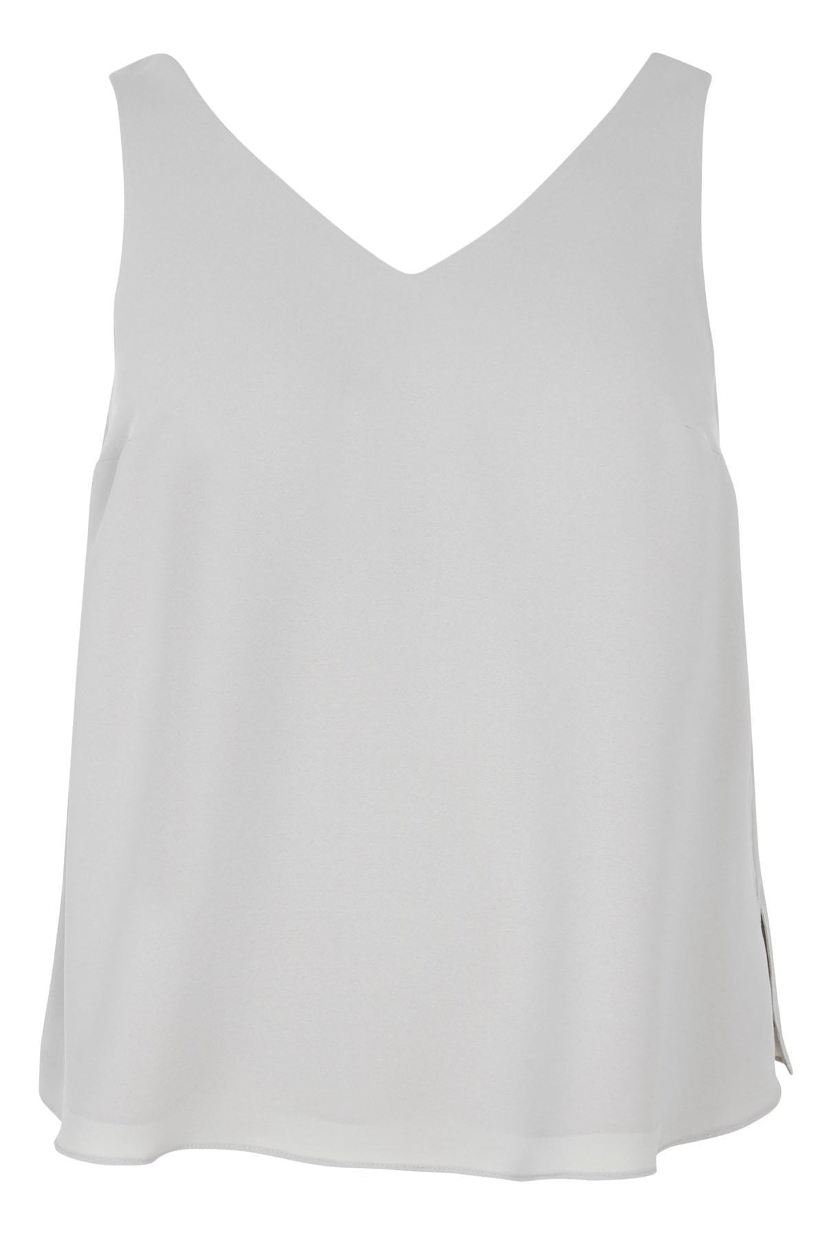 Evans Ex Evans Silver Grey V Neck Plus Size Vest Top | Secret Label