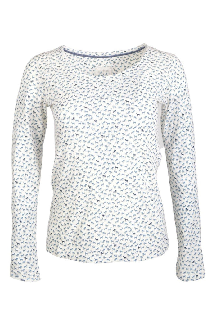 Deer Print Long Sleeve Cotton Jersey Top