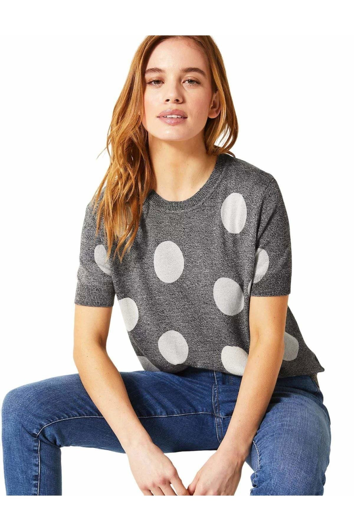 Marks & Spencer Half Sleeve Knit Top Spot & Stripe | 22 / Grey Polka Dot Secret Label
