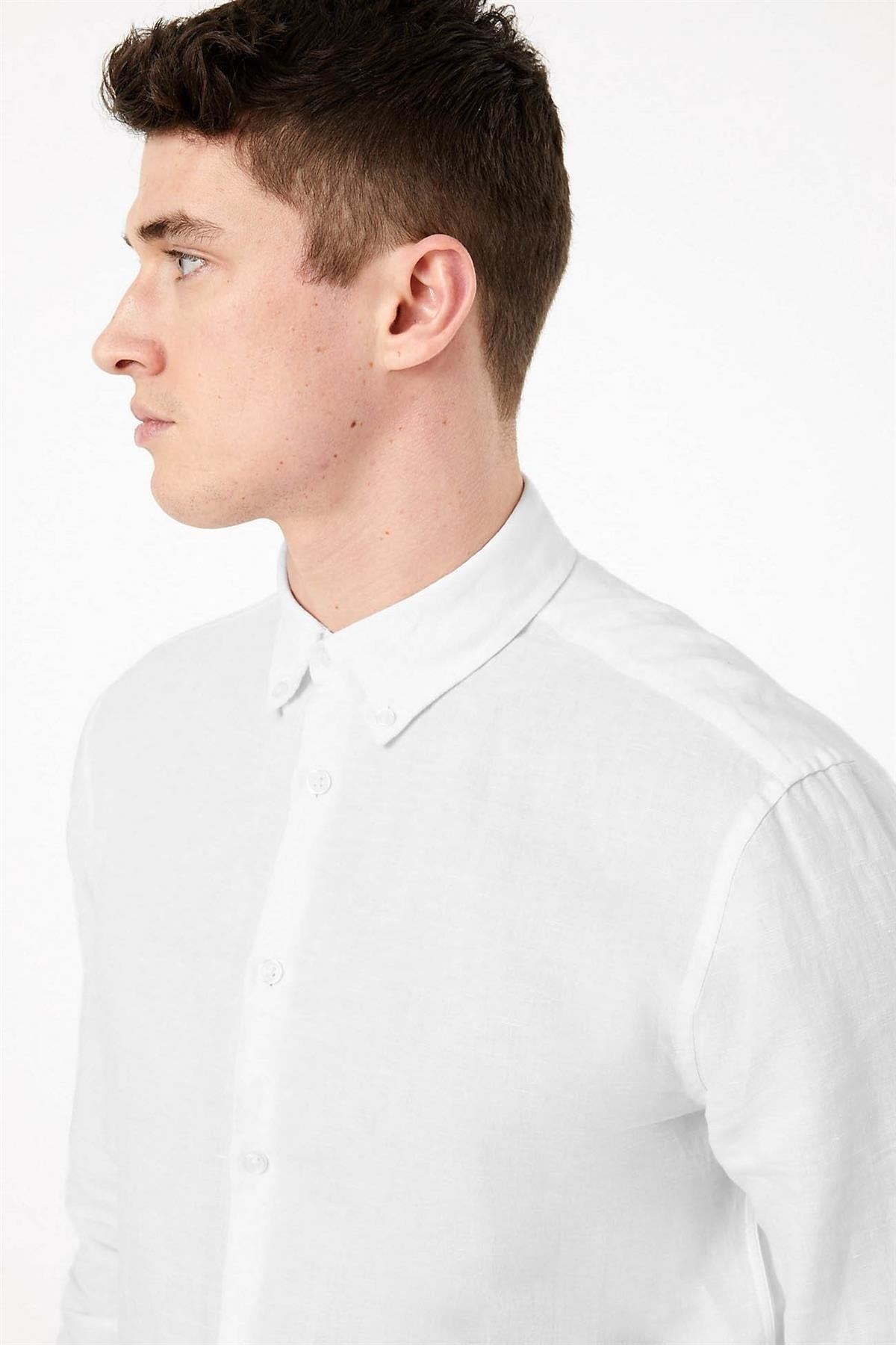 Marks & Spencer Linen Shirt Button Down Collar | M / White Secret Label