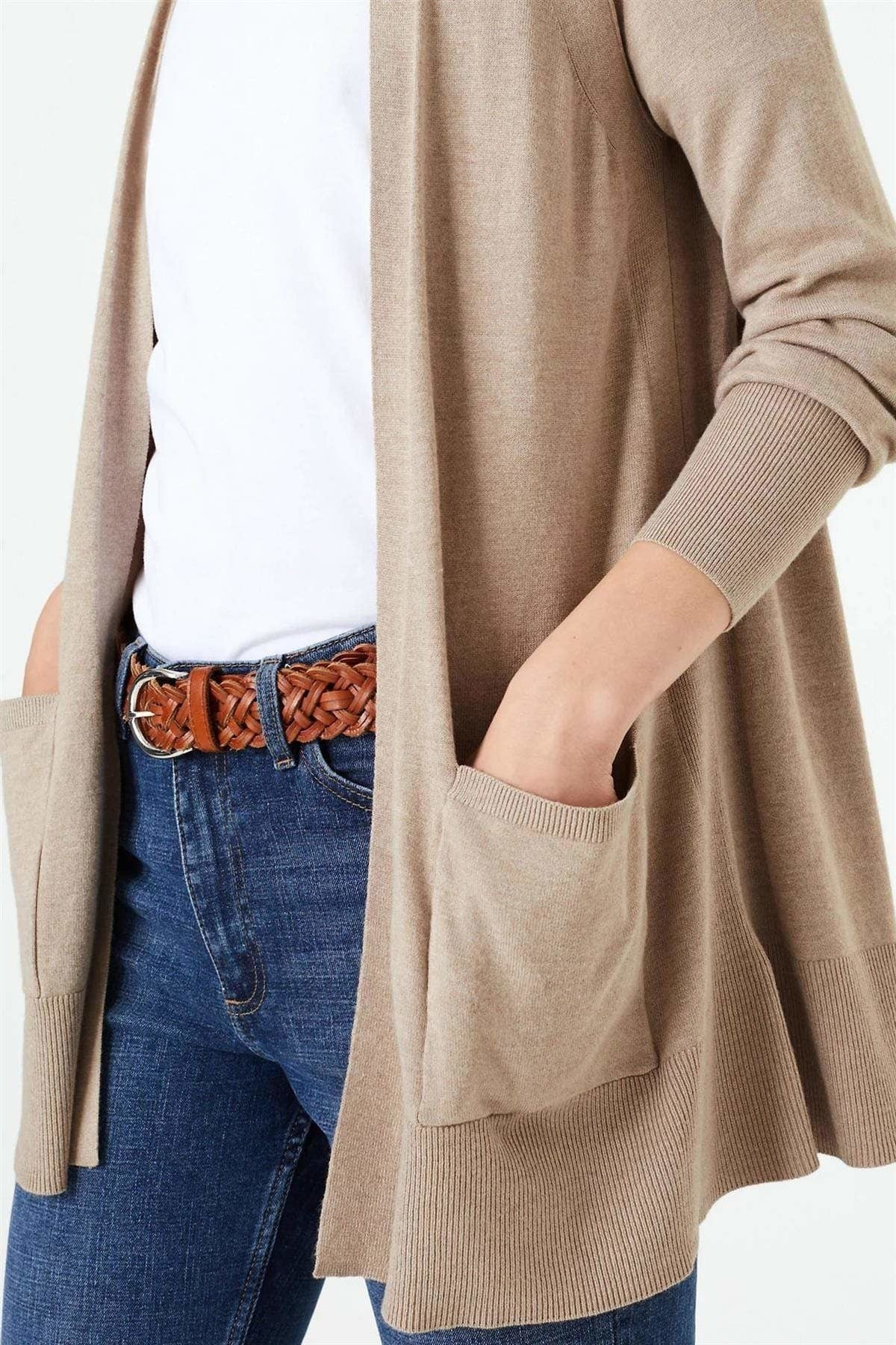 Marks & Spencer Open Front Patch Pocket Cardigan | XL / Beige Secret Label