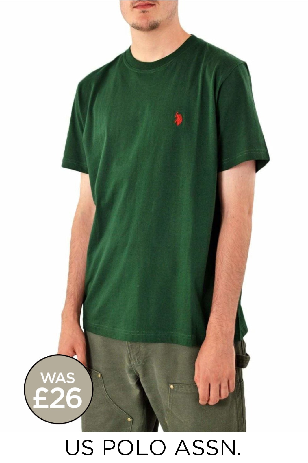 US Polo Assn. Cotton Crew Neck T Shirt | Large / Forest Green Secret Label