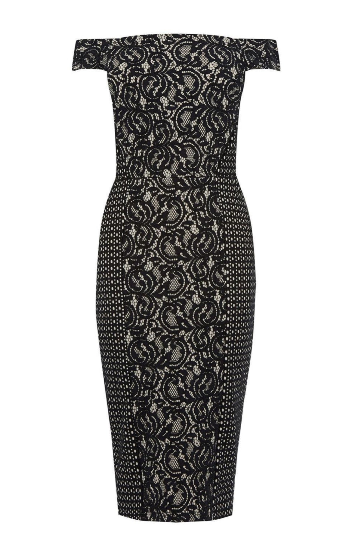 Warehouse Bardot Lace Pencil Dress | Secret Label