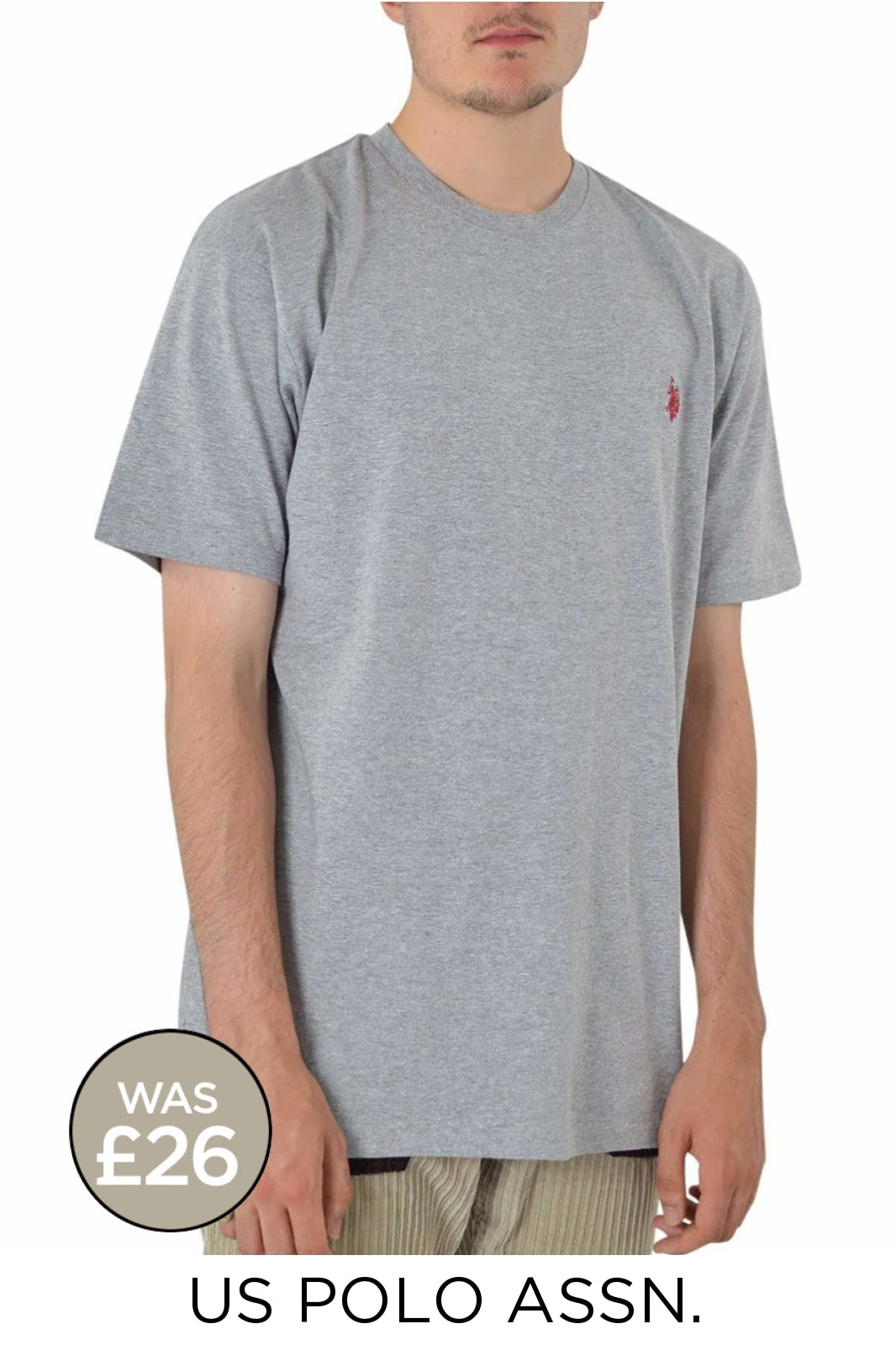 US Polo Assn. Cotton Crew Neck T Shirt | Large / Charcoal Grey Secret Label