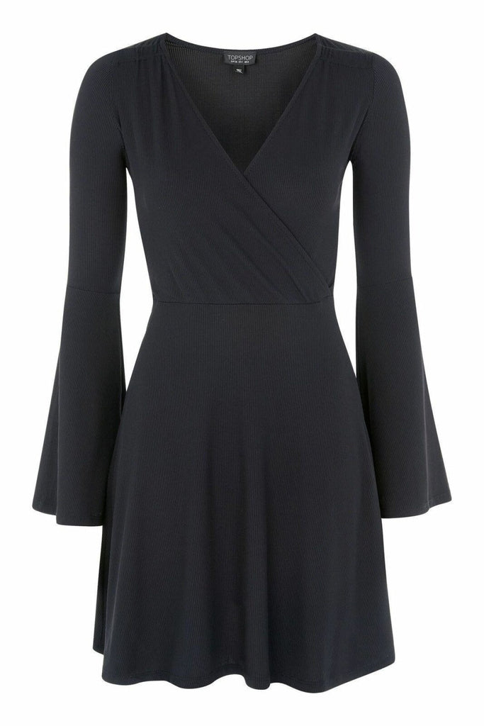 Topshop Black Bell Sleeve Wrap Dress