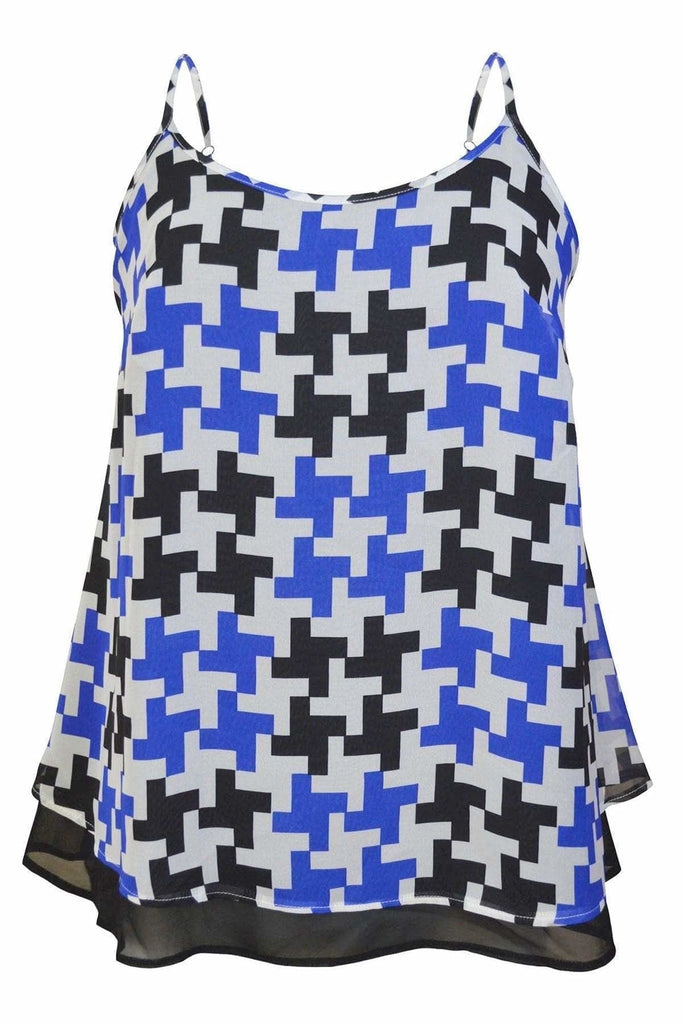 Threads Black Blue Houndstooth Cami Top
