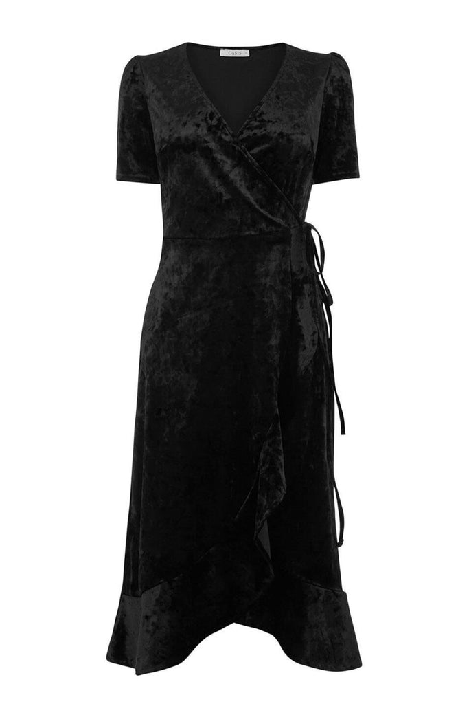 Oasis Black Crushed Velvet Wrap Dress