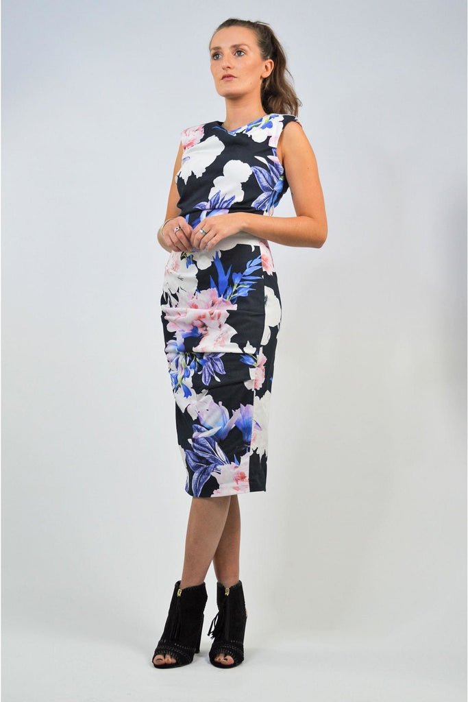 Coast Black Floral Lined Party Dress