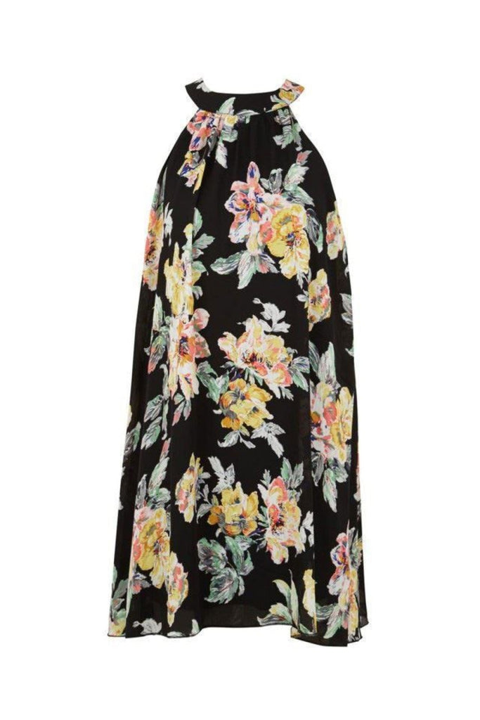 Topshop Black Floral Sleeveless Swing Top
