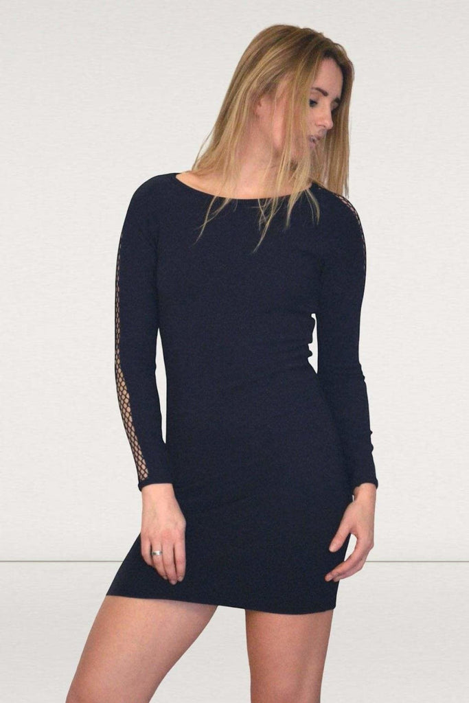Topshop Black Lace Sleeve Dress