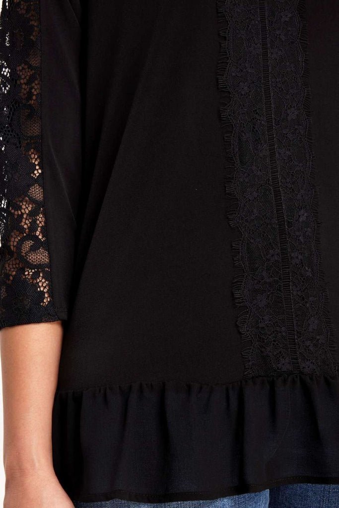 Wallis Black Lace Trim Tunic Blouse