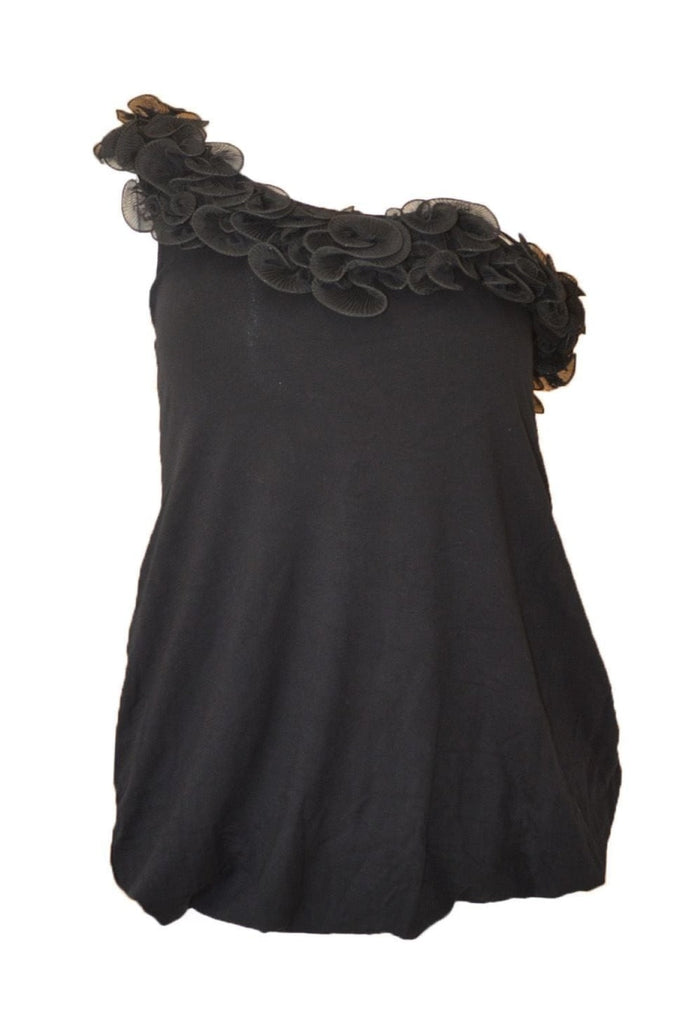 River Island Black One Shoulder Frill Edge Top