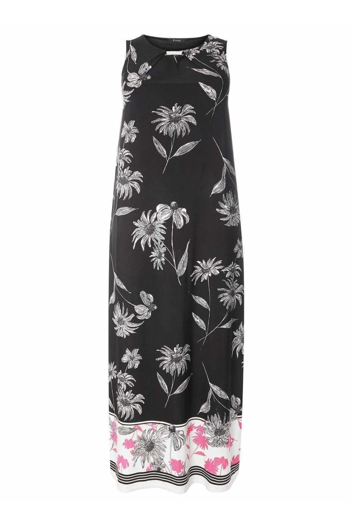 Evans Ex Evans Black/Pink Floral Sleeveless Dress | Secret Label