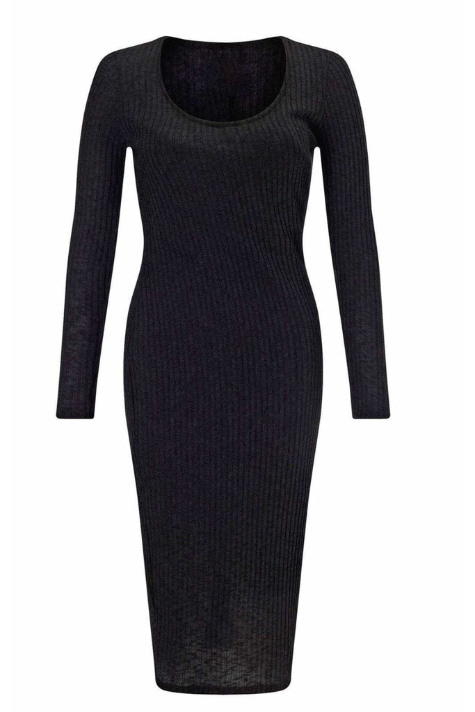 Lipsy Black Rib Knit Scoop Neck Bodycon Dress
