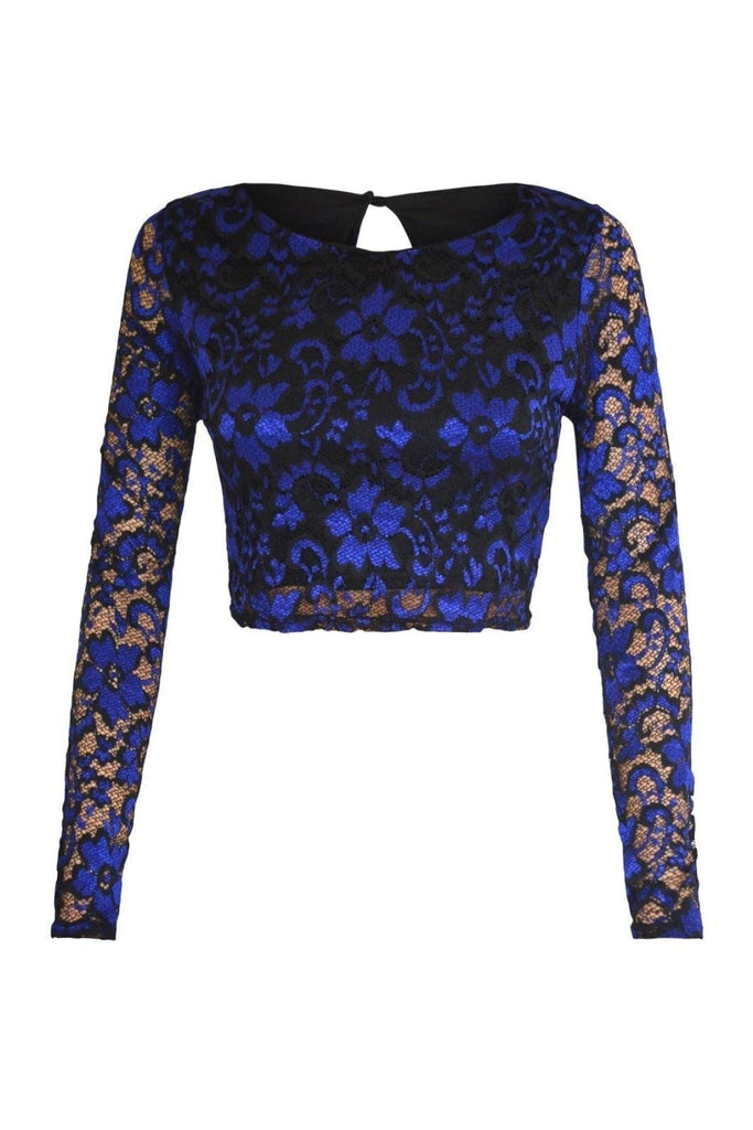 Miss Selfridge Blue Black Lace Crop Top