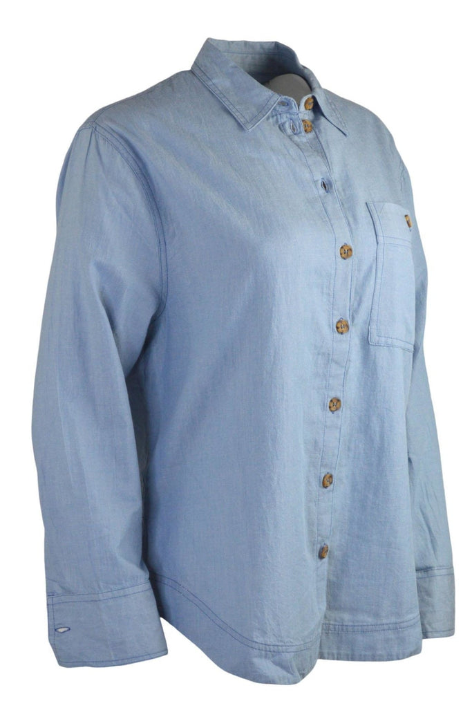Topshop Blue Chambray Oversize Shirt