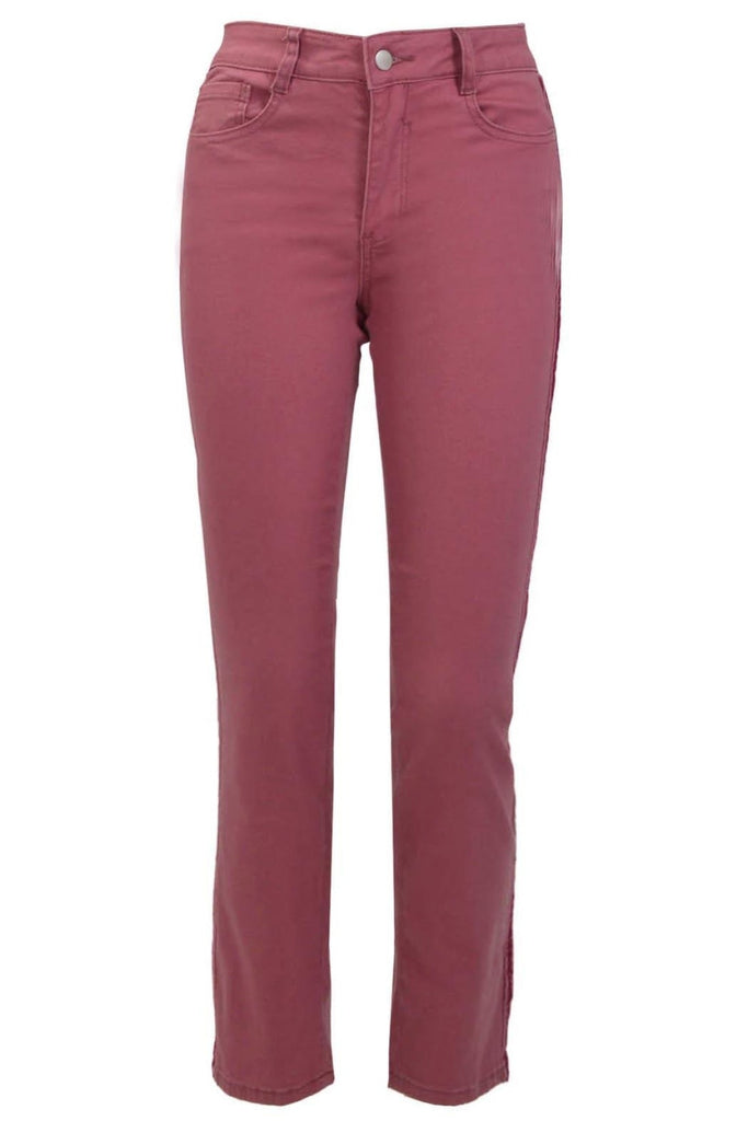 Slim Leg Berry Jeans Velvet Side Stripe
