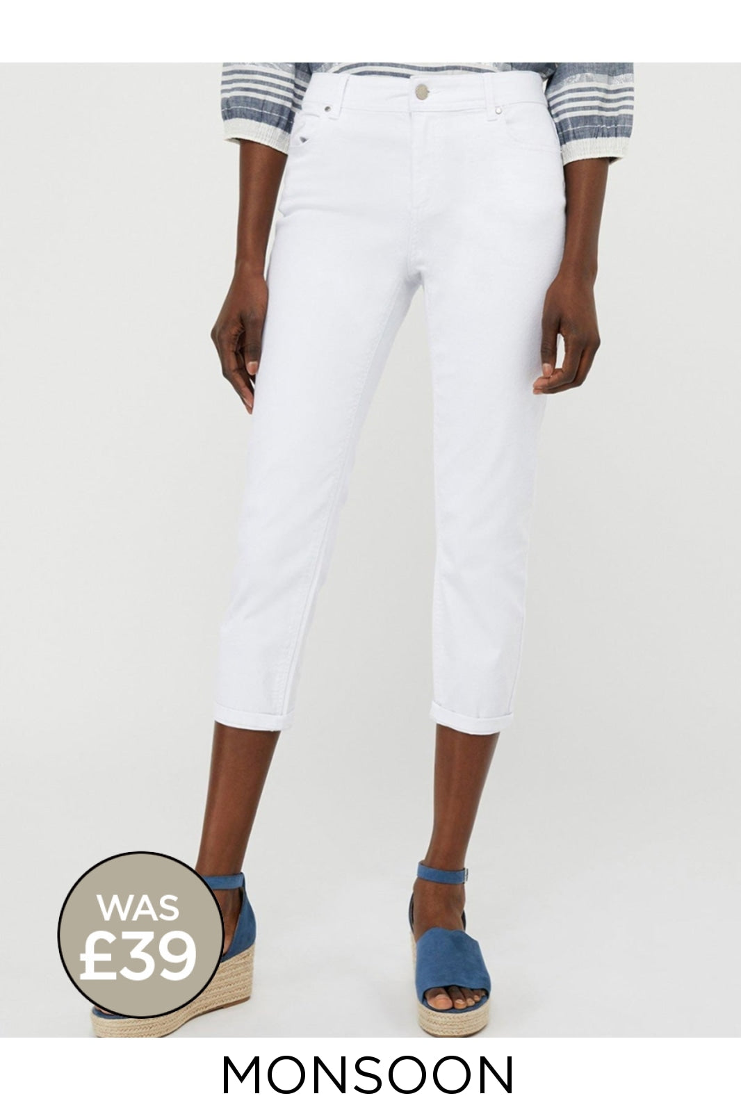 Monsoon Ex Monsoon Monsoon 'Idabella' Capri Jeans | 8 / White Secret Label