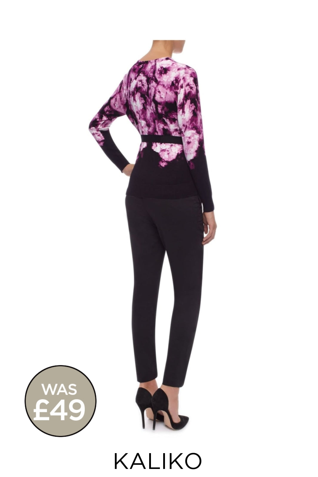 KALIKO KALIKO Black/Pink/Purple Floral Tie Waist Cardigan | Secret Label